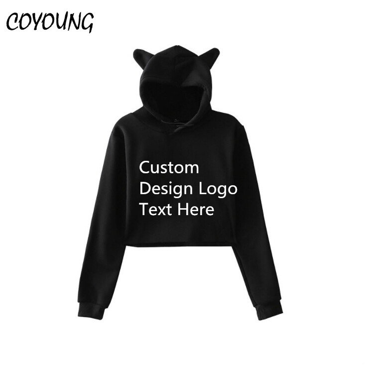 Us 15 99 Coyoung Brand Women Diy Custom Cat Ear Hoodies Long Sleeve Cropped Hooded Pullover Girls Clothes Tops Sweatshirts Free Shipping In Hoodies