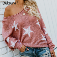 Autumn 2018 Women Sexy V Neck Star Sweaters Causal Loose Oversized Pullovers Cozy Summer Knitted Tops Batwing Sleeve Pull Femme