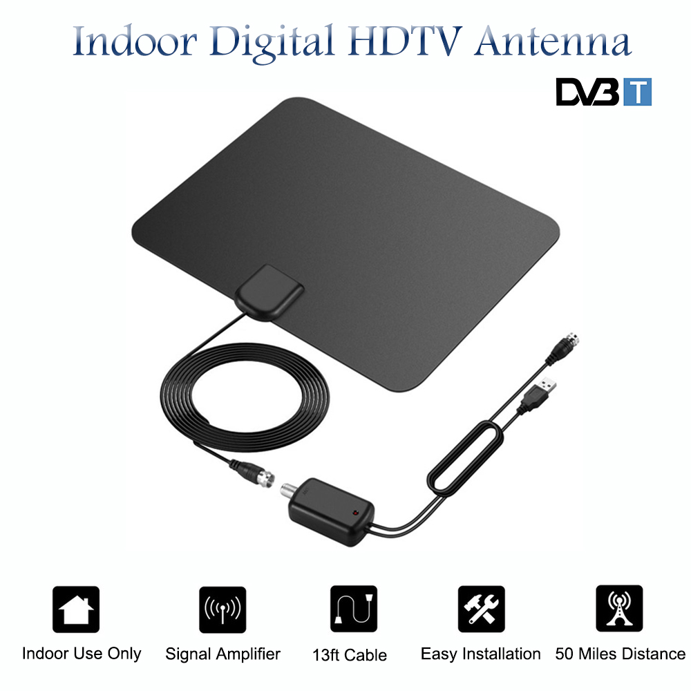 SATXTREM Indoor HD Digital TV Antenna With Amplifier Signal Booster 50 Miles Range 25 DBI HDTV Antenna For DVB-T Free Channels