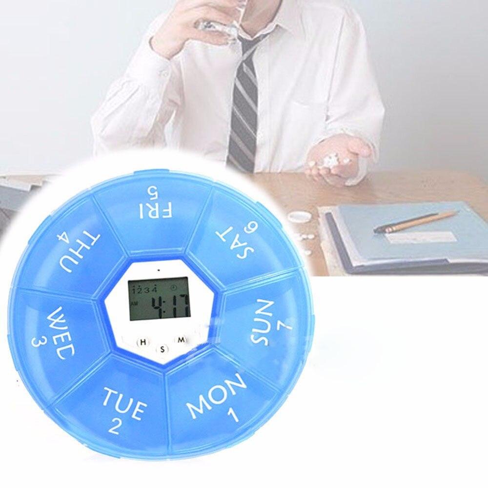 HOT Weekly Digital Timer Round 7 Days LED Pill Box Case Alarm Clock Reminder Medicine