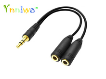 Free shipping black 3.5mm  in 2 couples audio line Earbud Headset Headphone Earphone Splitter For Tablet Phone MP3 MP4