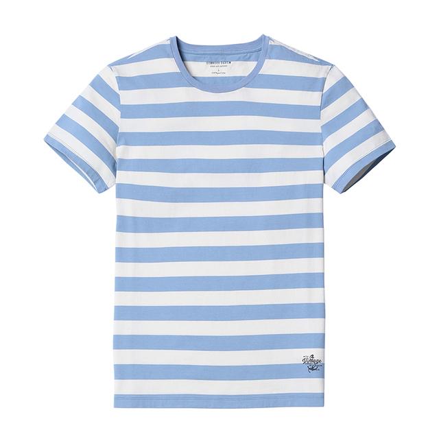Men's Slim Fit T-Shirts  Fashion O-neck Blue Striped