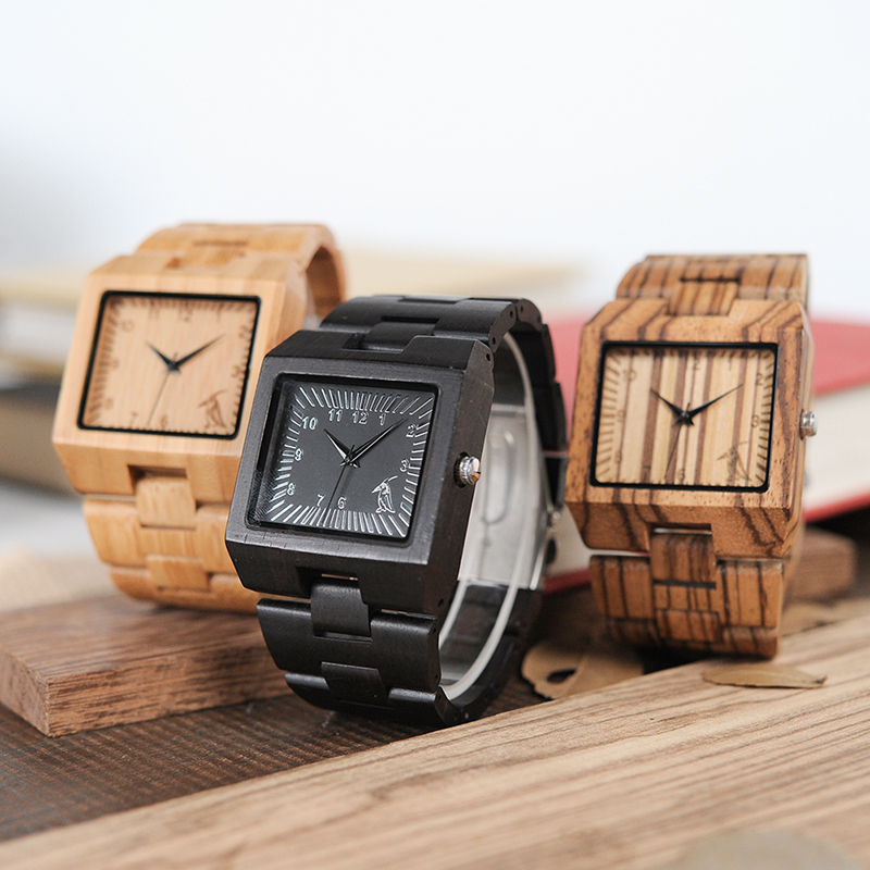 2017 BOBO BIRD Nature Bamboo Ebony Zebra Wooden Mens Watches Top Luxury Brand Wood Band Wrist Watch for men Relogio Masculino bobo bird wh05 brand design classic ebony wooden mens watch full wood strap quartz watches lightweight gift for men in wood box