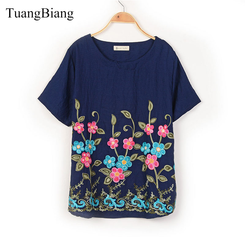 2018 Summer Short Sleeve Embroidery T shirt Woman O-Neck Loose Chinese Folk Style T Shir ...