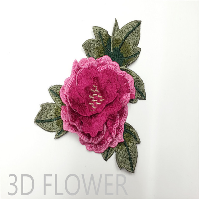10pcs cute 3d rose applique flowers patch embroidered sew on clothes bags handmade diy craft ornament