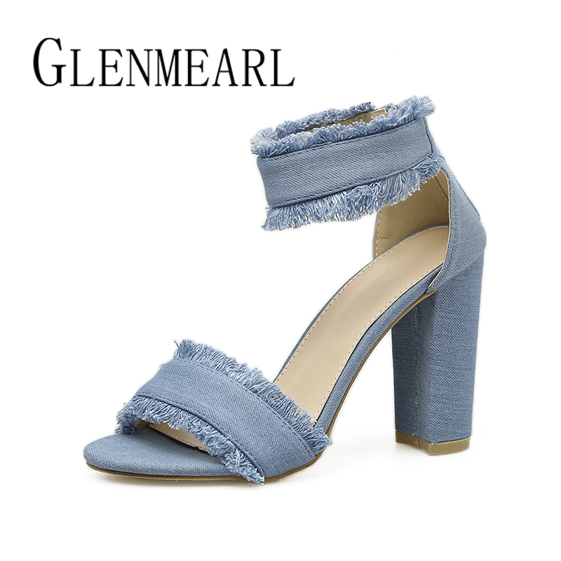 Denim Women Sandals Summer Quality Sexy Shoes Woman Brand Lace Square Heels Casual Party Dress Ladies Sandals Shoes Female 35-40 brand shoes woman flock gladiator sandals women summer dress shoes lace up high heels fringe beach casual shoes ladies sandals