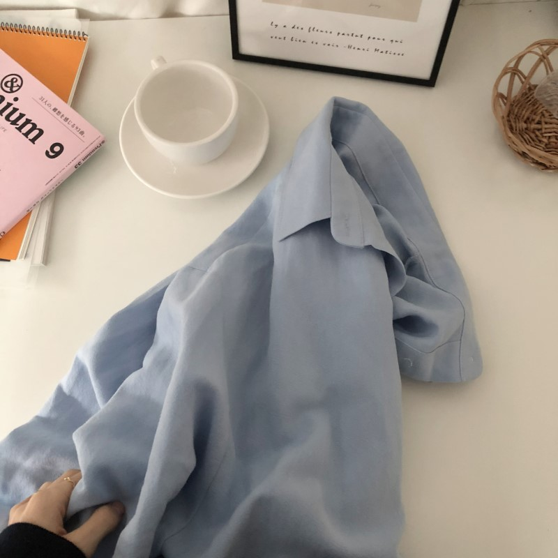 Blue Long Sleeve Long Shirt Dress Spring Casual Patchwork White cotton Dresses Collar Buttons Loose Dresses Robe Femme Vestido 35