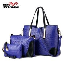 2016 bolsos de las mujeres de cuero bolso Sac À Main señoras Diseñador de la Marca Bolsa de Hombro bolsos de las mujeres Del Bolso Del Mensajero Monedero de mano 3 Sets
