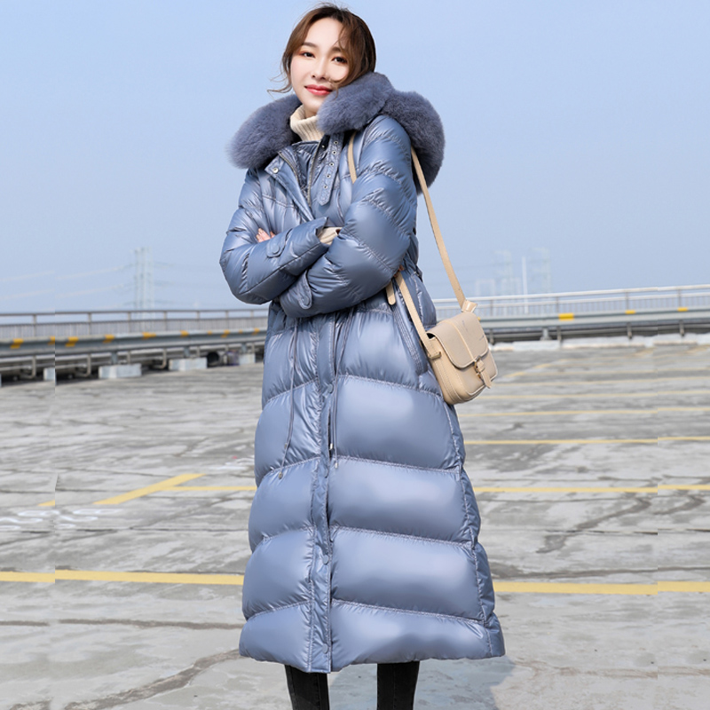 2019 Winter 90% White Duck   Down     Coat   Women Thick Warm Hooded Jackets Large Real Fox Fur Slim Female Long   Down   Parkas Overcoat