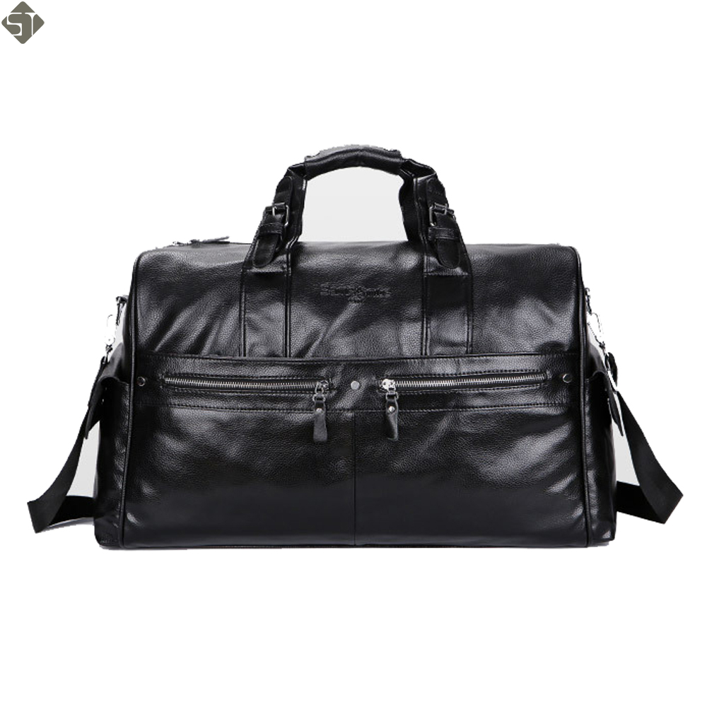 FUSHAN High Quality PU Leather Mens Travel Bags Large Capacity Men Messenger Bags Travel Duffle Handbags Mens Shoulder Bags