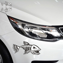 1Pair 28*13CM Reflective Piranhas Fish Bone Anime Cartoon Car Styling Motorcycle Car Stickers And Decals Exterior Accessories