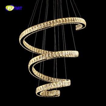 FUMAT 現代回転 K9 クリスタルデザイン K9 クリスタル Stainess 鋼 LED ペンダント照明高級 Lustres ランプ人格クリエイティブ