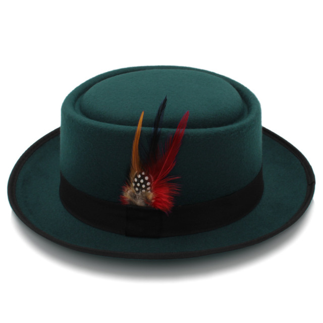 Fashion Women Men Pork Pie Hat Dad Wool Flat Fedora Hat Lady Gentleman Gambler Panama Trilby Hat With Fashion Feather Size 58CM 2