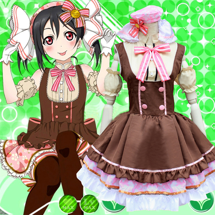 Love Live Nico Yazawa Candy Maid Uniform Cosplay Costume Princess Lolita Dress ( Dress + Headwear + Bow tie + Oversleeve )