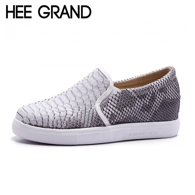 HEE GRAND Brand Casual Shoes Woman New Breathable Height Invisible Snake Skin PU Leather Slip ons Shadow Women's Shoes XWD3413