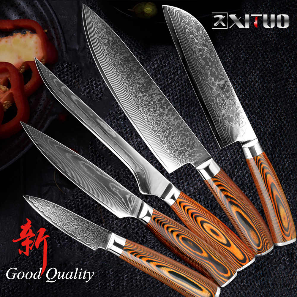 "XITUO 5.5""inch Boning knife super sharp Japanese VG10 steel kitchen Damascus Utility knives Color wood handle Fish knife gift"