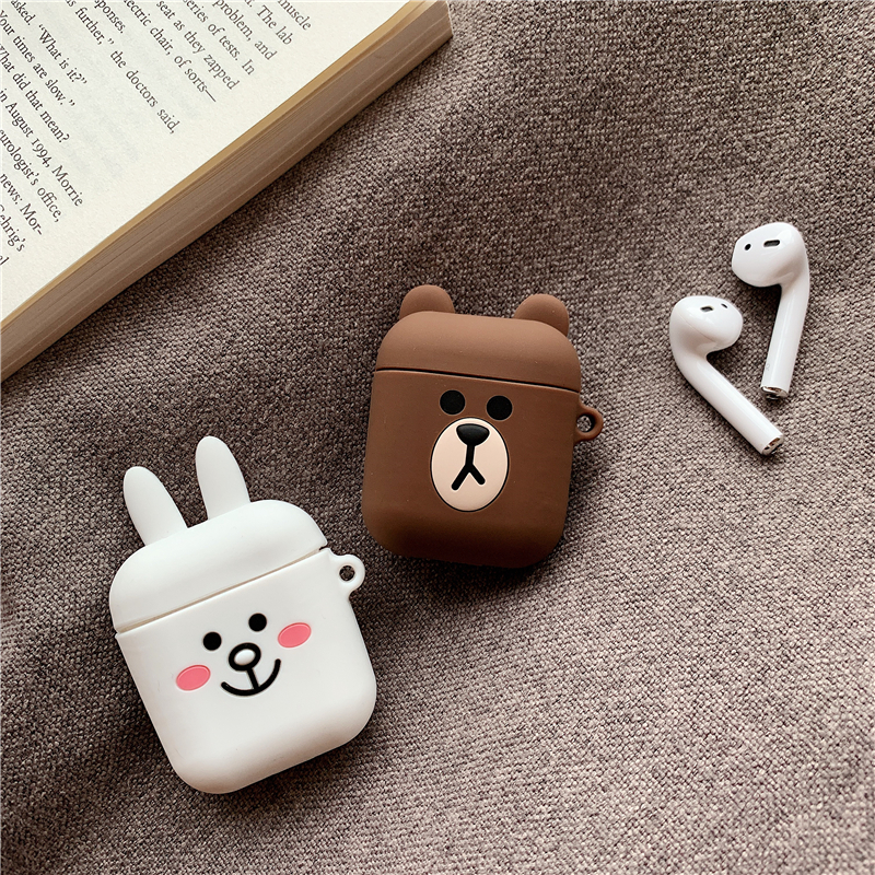Silicone Case for Airpods Accessories for i10 TWS Bluetooth Earphone Protective Cover Bag Anti-lost Strap Cute Cartoon bear DIY20
