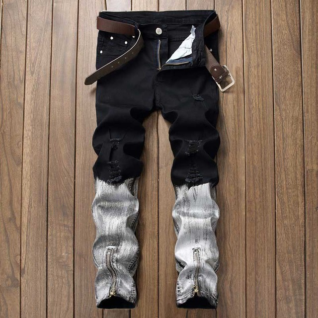 White Black Paint Coating Biker Moto Jeans Men S Trousers Size 30 40 Male Straight Stretch Vintage Pants