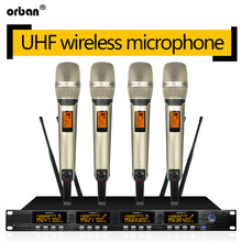 Wireless microphone system four handheld lavalier wireless karaoke home