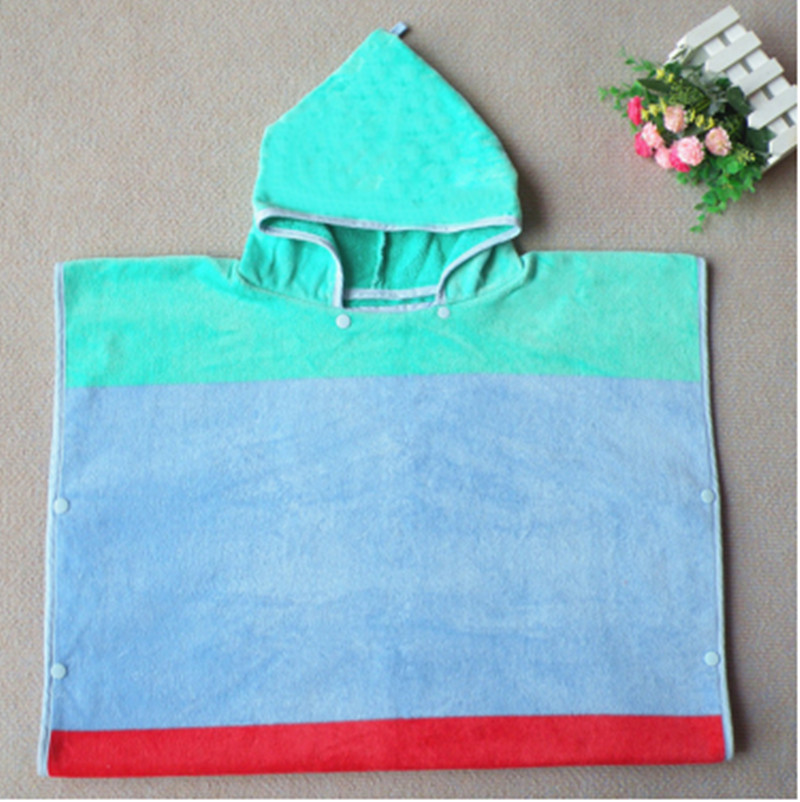 80 x 65cm blue red or purple blue patchwork bathrobe 100 cotton children large size adult wearable bath towel with cap T112 in Hooded Towels from Home Garden