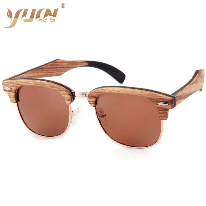 Offre spéciale classique marque en bois femmes lunettes de soleil polarisées hommes demi-cadre reconstituant des manières antiques bois occhiali da sole
