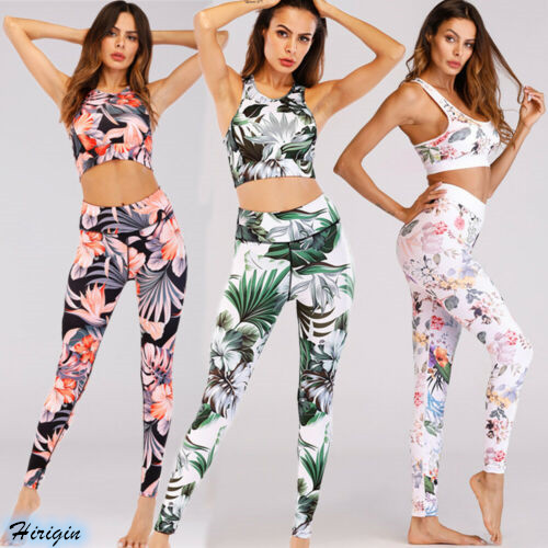 Two Piece Set Women 2019 New Women's Casual Print Sports Workout Activewear 2 Pieces Top+Elastic High Waist Pants
