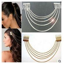 Women Fashion Wedding Hair Accessories Golden Metal Tassel Leaf Comb Cuff Chain Bride Jewelry Wedding Headband Hair Clip Crown