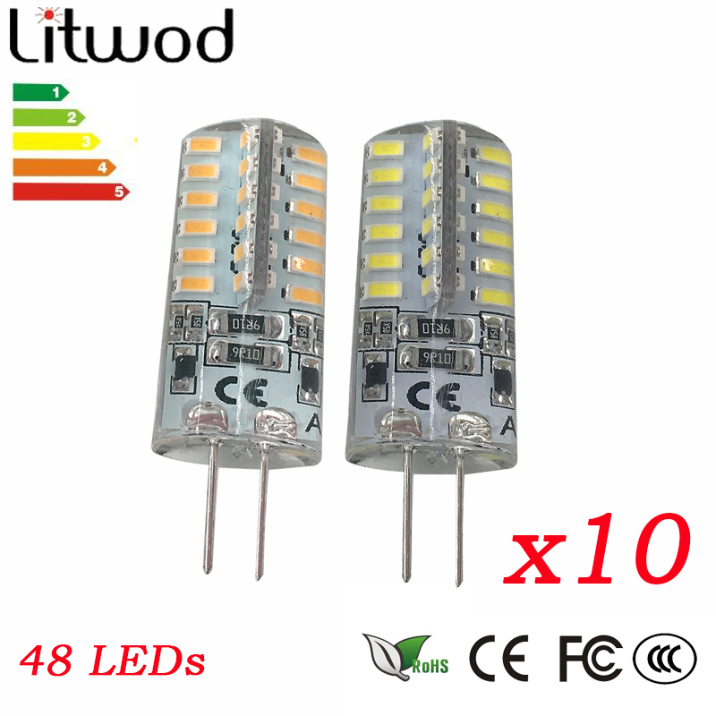 <font><b>10</b></font> <font><b>PCS</b></font> 3W led <font><b>G4</b></font> Base LED Bulb Lamp High Power SMD3014 48 leds AC12V DC12V 220V White/Warm White Light 360 Degrees Beam Angle image
