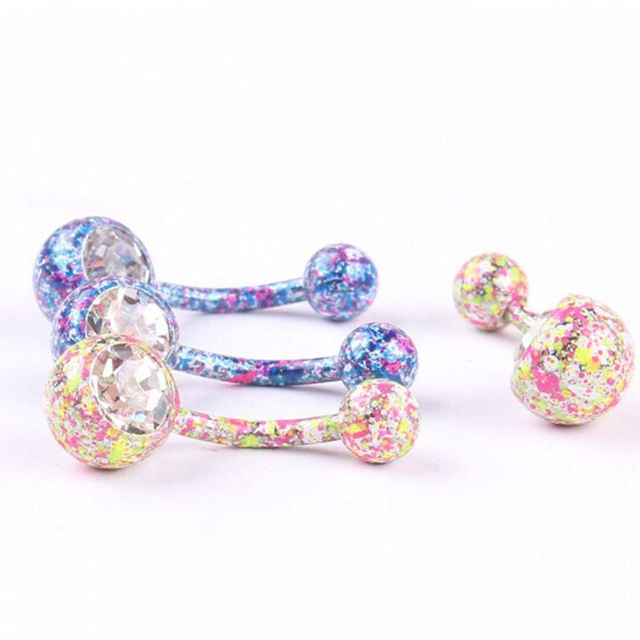 LNRRABC Hot Unisex  New Floral Crystal Rhinestones Navel Belly Button Ring Body Piercing Jewelry Women Bijoux Piercing Nombril