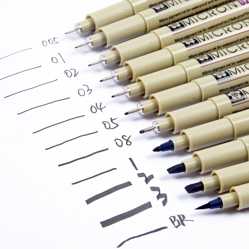 Sakura 13 Different Size Pigma Micron Needle Pen Set XSDK Black Marker Brush Pen Liner Pen For Sketch Drawing Design Manga Comic