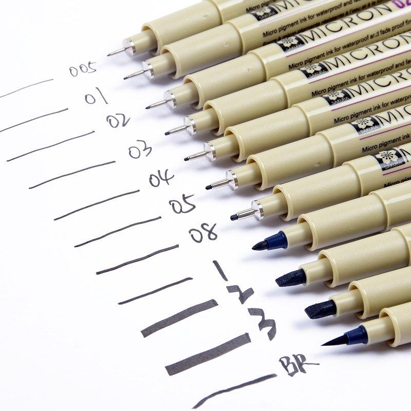 Sakura Pigma Mícron Caneta Agulha Set XSDK 13 Tamanho Diferente Marcador Preto Caneta Pincel Liner Caneta para Desenho de Esboço Design quadrinhos mangá