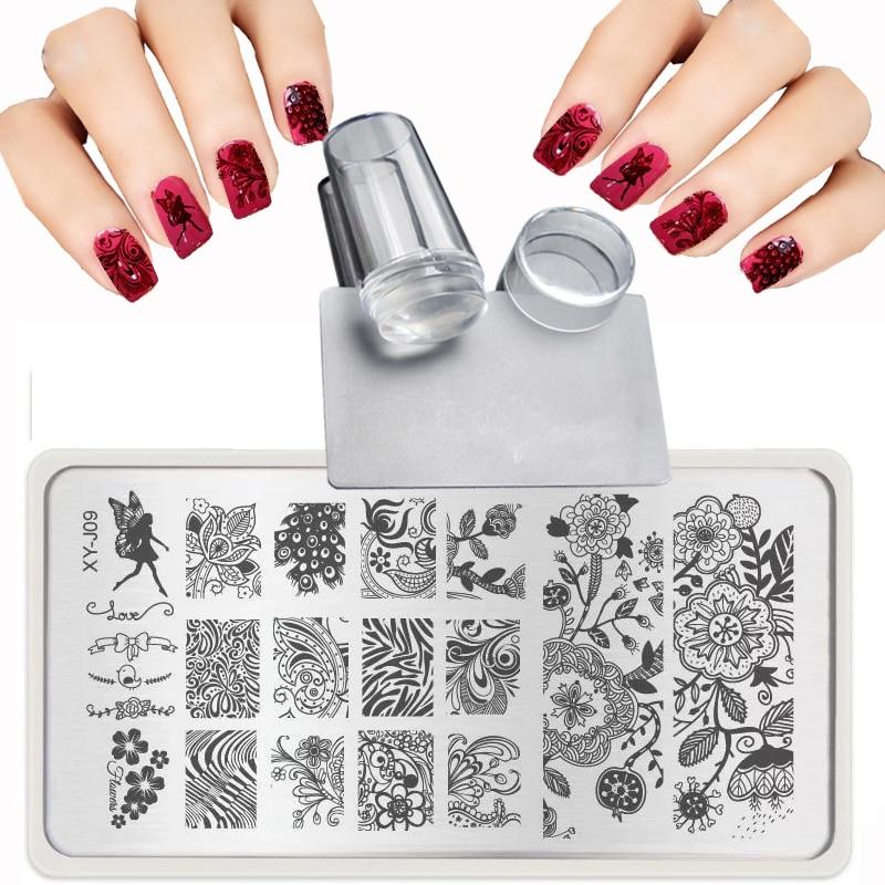 XY-J 2019 Lace Flowers Patterns voor Nail Art Sjablonen Stalen plaat Transparante stempel + nagelstempel Sets Sets + Schraper