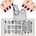XY-J 2019 de encaje flores patrones para arte de uñas plantillas placa de acero transparente sello + uñas placas de estampado conjuntos Kits + raspador