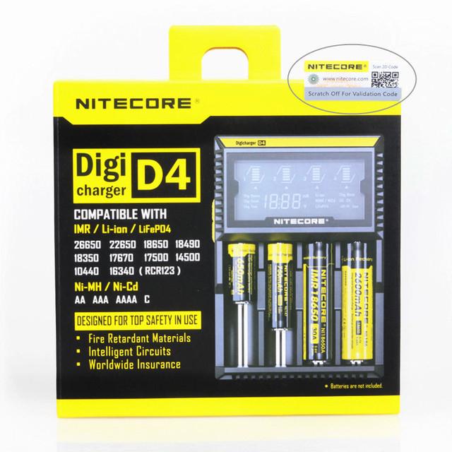2017 Digcharger Nitecore D4 Nitecore Cargador de Batería Original Pantalla LCD Universal Nitecore Cargador + Paquete Al Por Menor, enchufe de LA UE