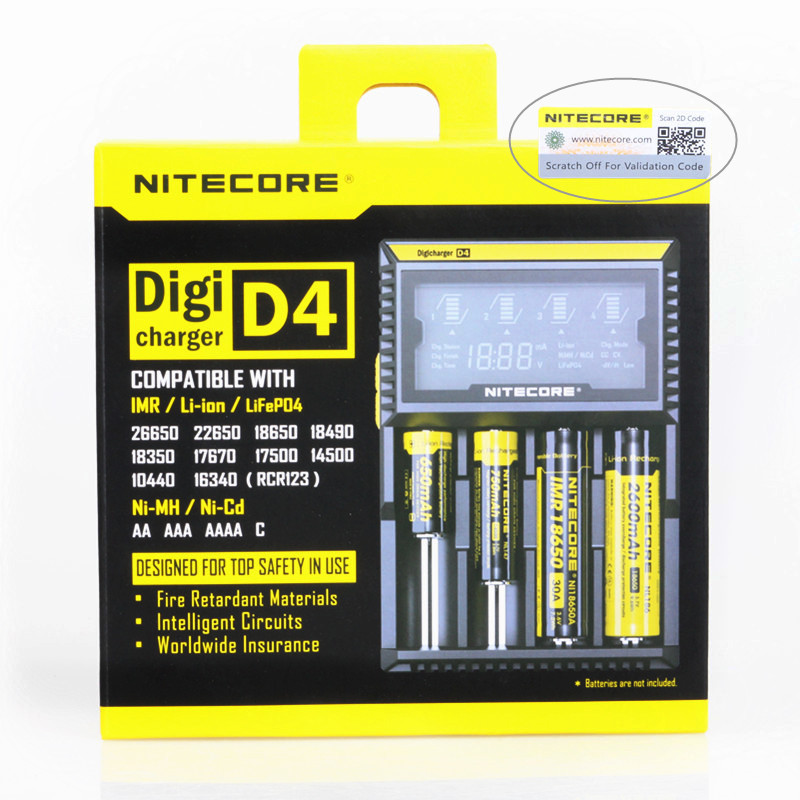 2017Nitecore D4 Digcharger Battery Charger Original Nitecore LCD Display Universal Nitecore Charger +Retail Package ,EU plug