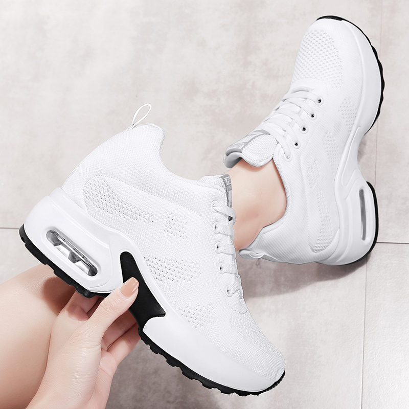 WADNASO Flying Knitting Fashion Sneakers Women Hide Heels Casual Shoes Breathable Platform Sneakers Wedge White Shoes XZ120 (20)
