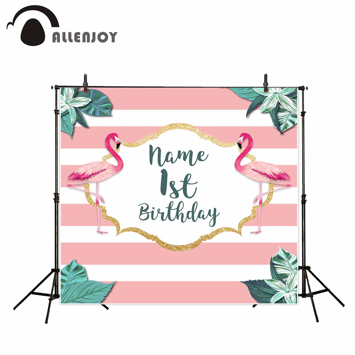 Allenjoy photography background pink flamingo and leaves theme Birthday party backdrop photography studio camera fotografica allenjoy photography background pink