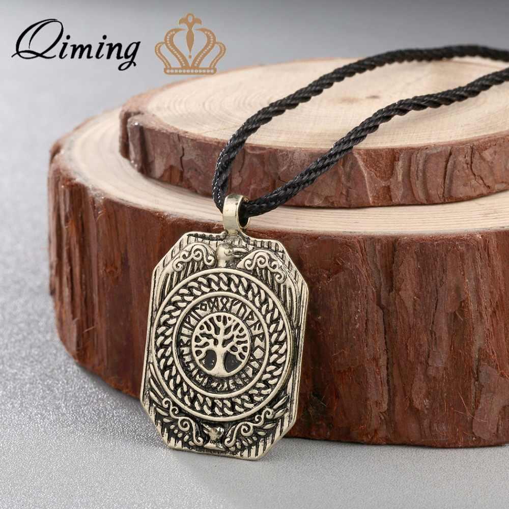 QIMING antyczne srebro mężczyzn biżuteria akcesoria Valknut Vikings Amulet wisiorek naszyjnik legendarny codziennie drzewo życia Charms prezent