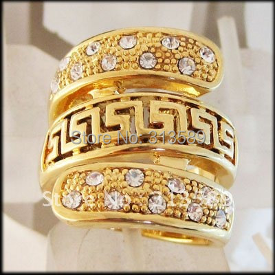 ORDER 10$ get FREE SHIPPING/ TOP QUALITY - YELLOW GOLD GP OVERLAY SOLID FILL BRASS GREEK KEY CZ RING  SZ 7 8  9 10/GREAT GIFT/