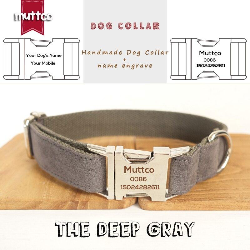 MUTTCO grabado collar de perro al por menor collar hecho a mano de la profunda gris poli raso y nylon gris collar de perro y la correa 5 tamaños UDC025