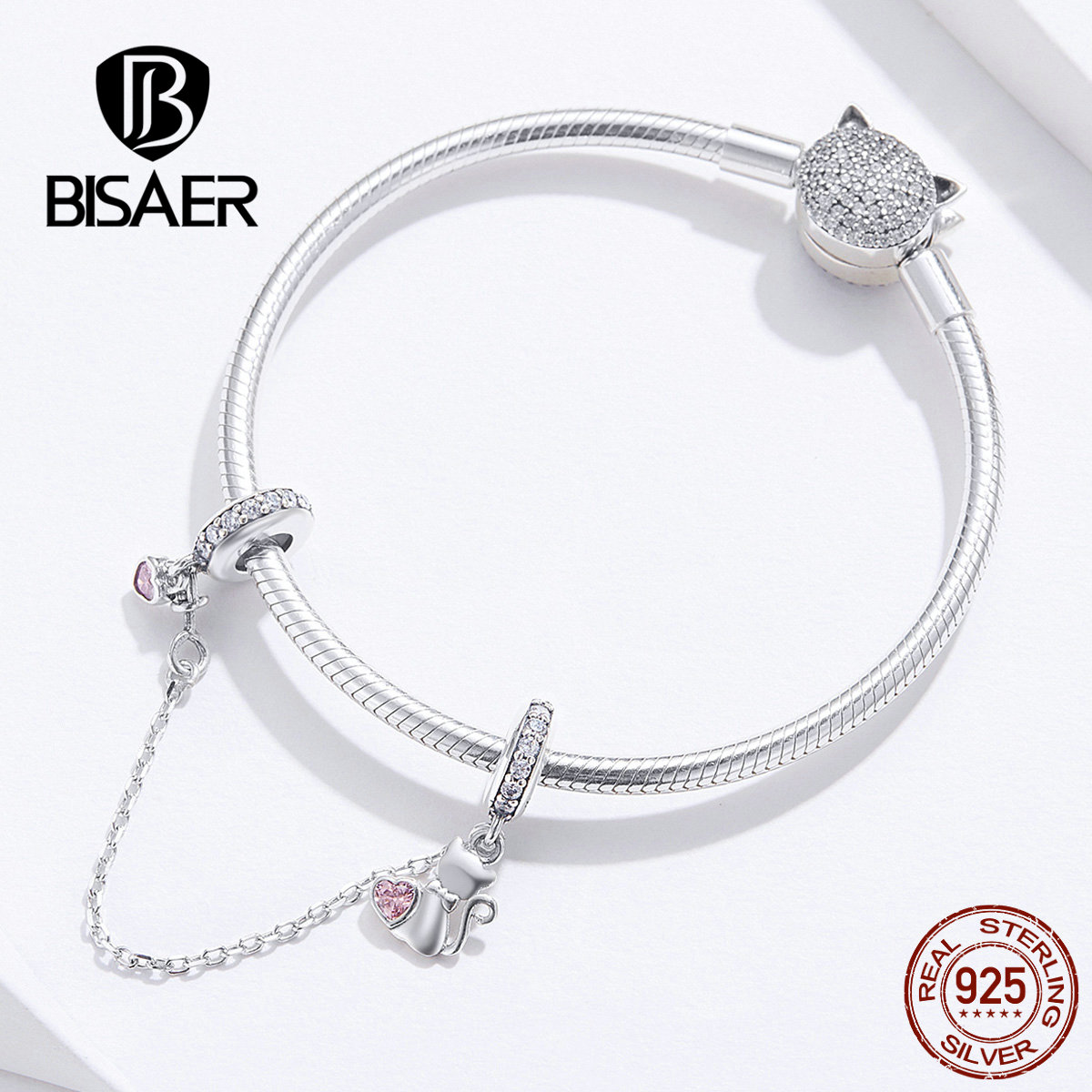 Bisaer Cat Charms 925 Sterling Silver