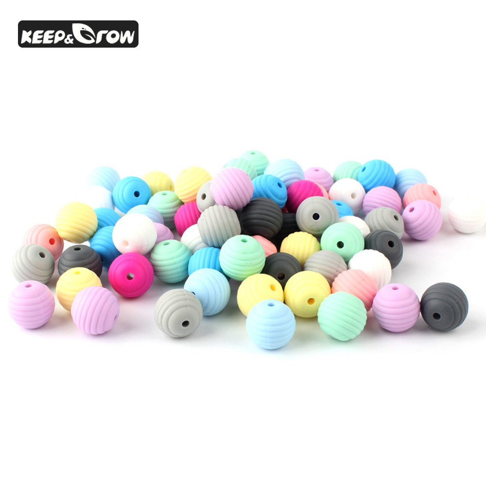 10Pcs 15mm Silicone Beads Screw Thread Round Beads Baby Teething Necklace Wristband Accessories Food Grade Baby Silicone Beads
