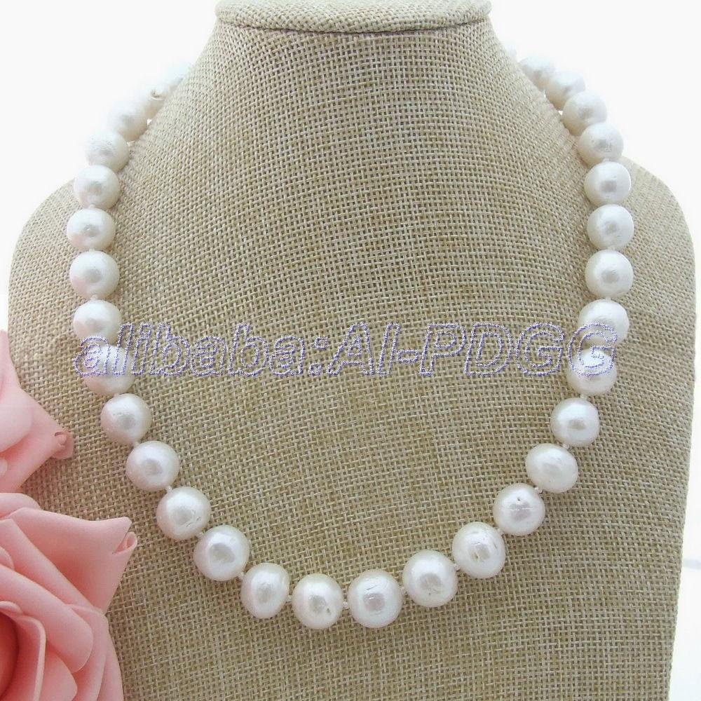 19 ''naturel 13 MM blanc Keshi collier de perles CZ fermoir