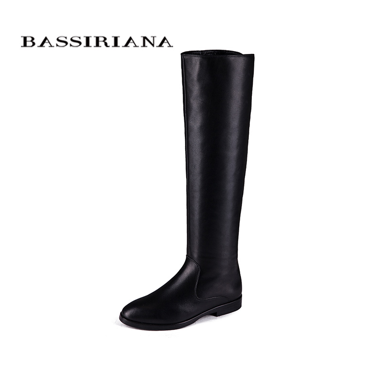 BASSIRIANA - genuine Suede Leather shoes Winter boots for woman Size 35-40 Flats heels Free shipping bassiriana new 2017 winter high boots shoes woman high heels round toe zipper genuine leather and suede black 35 40 size