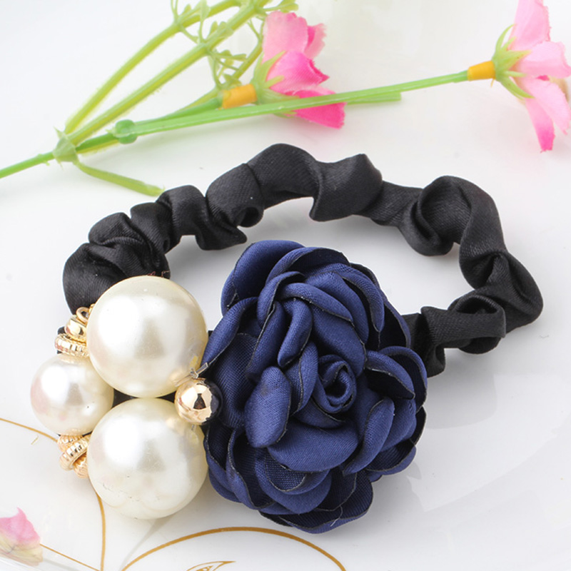 M MISM New Girls Flower Pearl Hair Holder Gum For Hair Ponytail Elastic Hair Band Hair Accessories Scrunchy Women Head Wear m mism korean artificial marten ball hair elastic band ponytail holder girl kids scrunchy hair accessories gift gum for hair