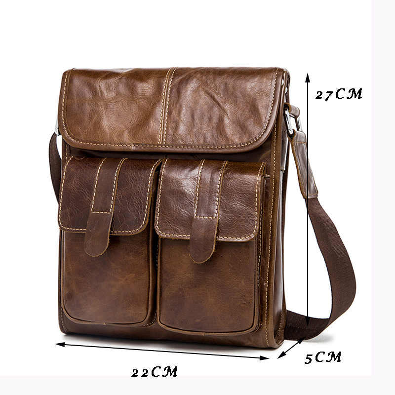 WOONAM Mannen Casual Mode Tas Echt Kalfsleer Kleine Satchel Messenger Bag MB318