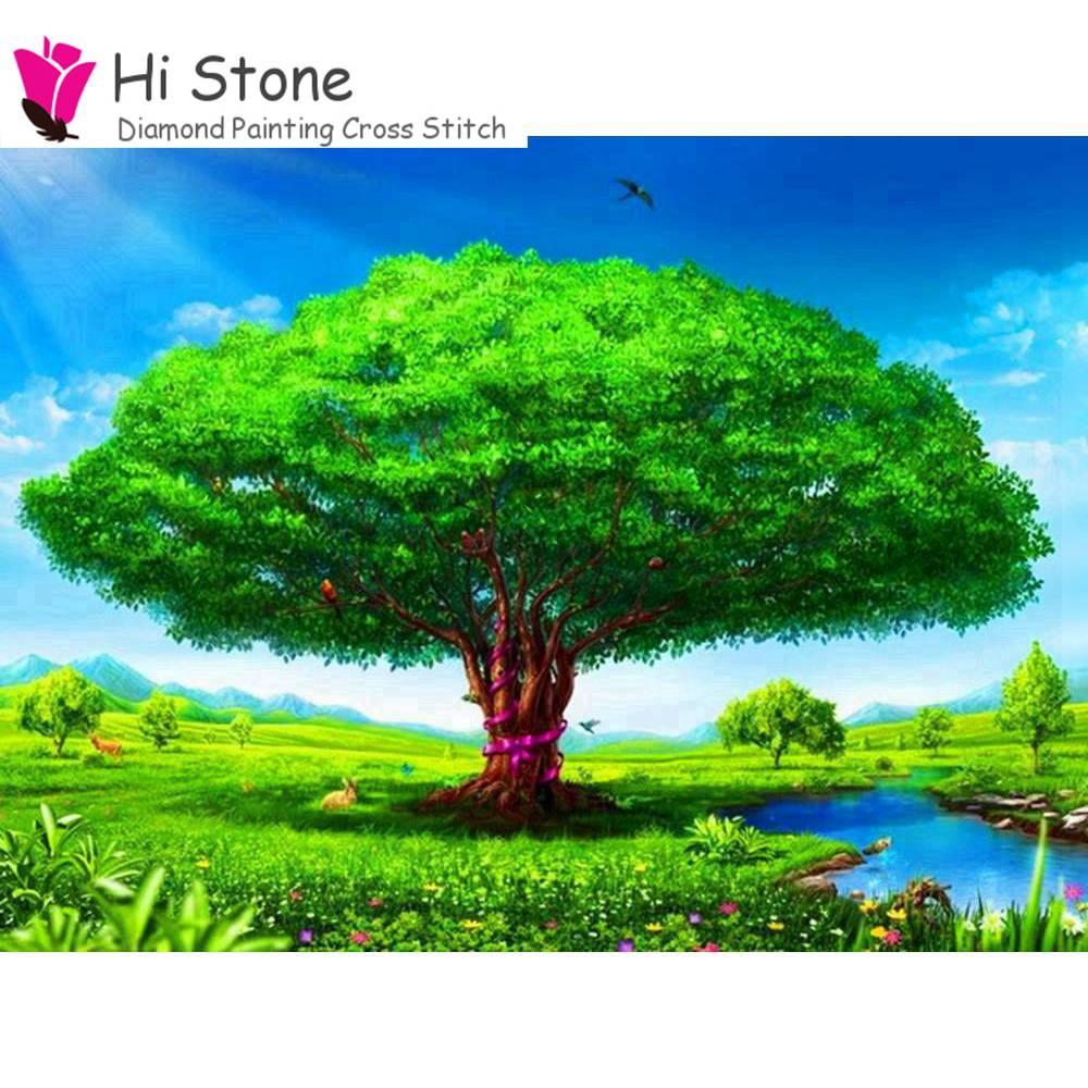 5D, вышивка, вышивка крестом, diamond Краски Ing, 3D, полный квадрат, зеленая елка, река, пейзаж Краски, домашний декор, подарок