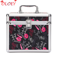 Professional Aluminum Makeup Case Portable Travel Jewelry Cosmetic Organizer Box With Mirror Beauty Vanity Brush Storage Bag