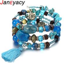 Janeyacy винтажные браслеты с кисточками из смолы и камня женский