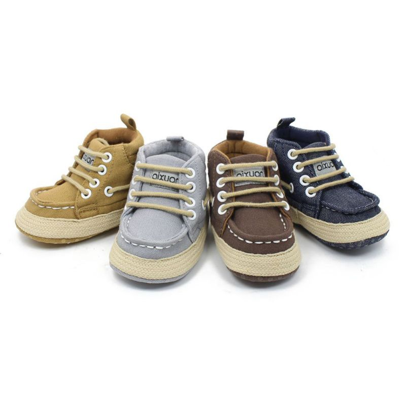 908a2dfe365c0 Toddler First Walkers Cotton Canvas Shoes Infant Sneaker Soft Bottom Crib  Lace-Up High-Top Baby Moccasins Shoes